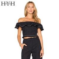 HYH HAOYIHUI Slash Neck Ruffles Patchwork Striped Blouse Shirt Elegant Fringed Short Women Blusas Bodycon Crop