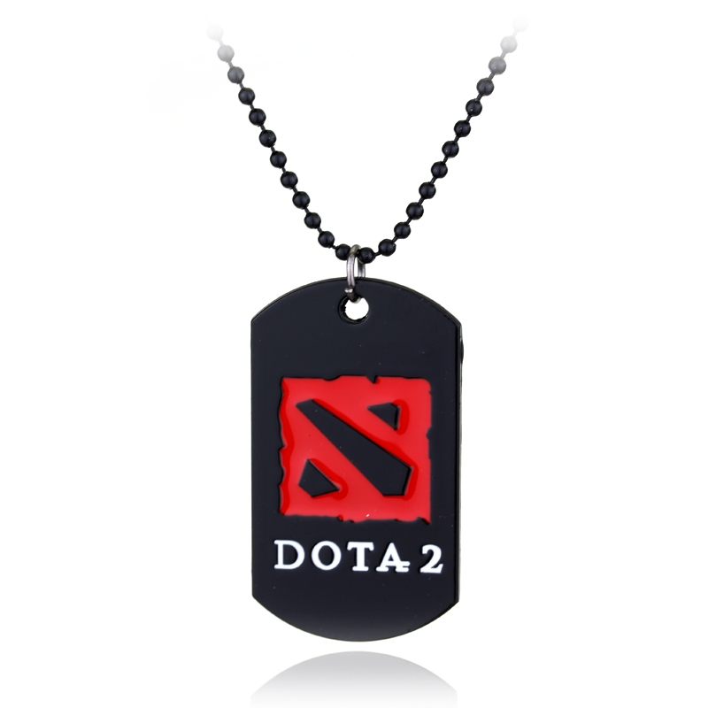 New Fashion Black Strand Chain Game Dota 2 Necklace Dota2 Logo