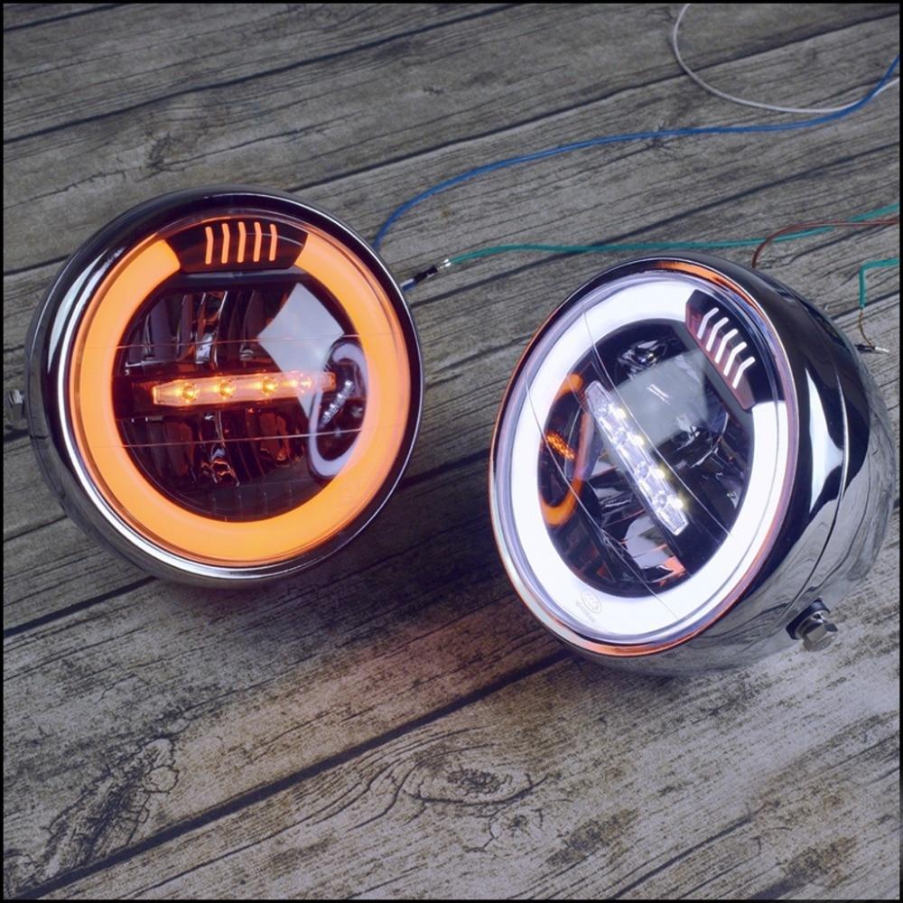 "6.5"" Inch Retro Motorcycle Headlight Headlamp Head faring LED Daytime Running light For SUZUKI GN CHOPPER Cafe Racer Bobber"