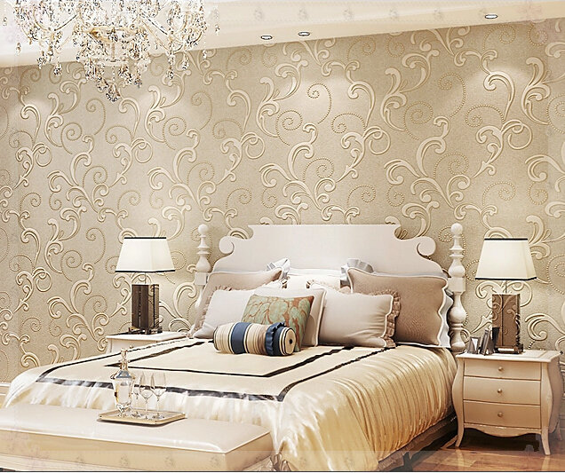 D Wallpaper Wallpaper Bedroom Living Room Three Dimensional Beijingqiang Non Woven Fabric Beige Wallpaper