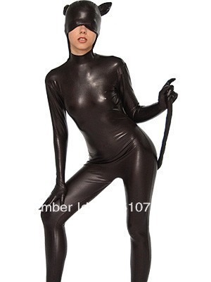 Black Cat Shape Shiny Metallic Zentai Suit Zentai Catsuit