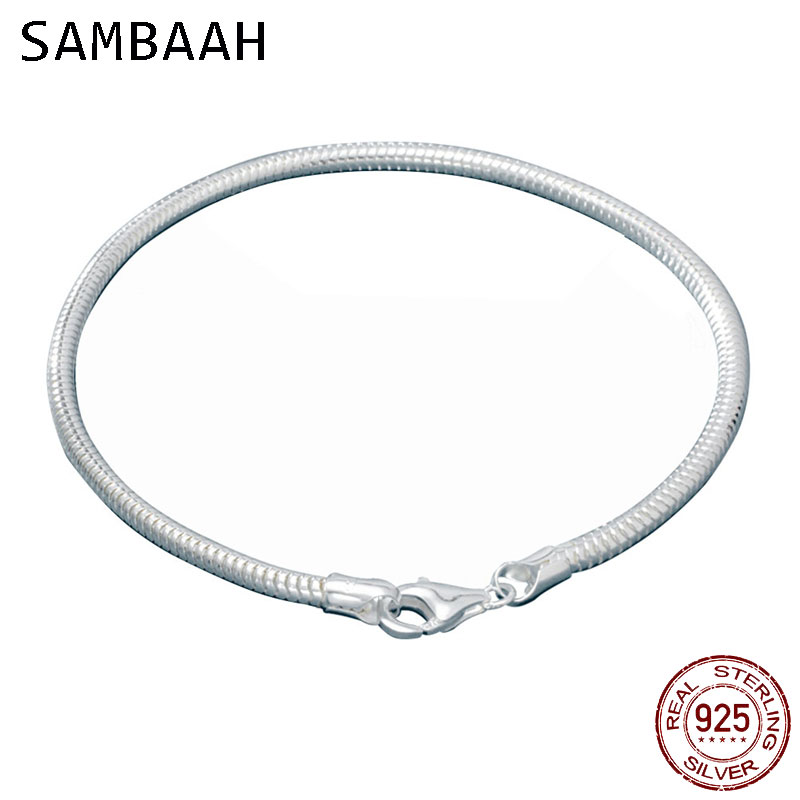Sambaah 3mm Chain 925 Sterling Silver Snake Charm Bracelet with Lobster Clasp for European Style Women Basic DIY Bracelet SJ0003 in Chain Link Bracelets from Jewelry Accessories