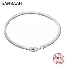 Sambaah 3mm Chain 925 Sterling Silver Snake Charm Bracelet with Lobster Clasp for European Style Women Basic DIY Bracelet SJ0003