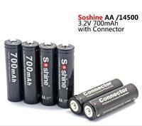 Alto Quanlity Originale Soshine 700 mAh 14500 batteria 3.2 V LiFePO4 Batteria Ricaricabile AA batterie Contenitore di Batteria connettore 4 pz/lotto
