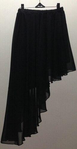 Летние модные однотонные сексуальные танцевальные юбки в стиле Лолиты, шифоновая юбка большого размера, Высококачественная брендовая Праздничная юбка - Цвет: Черный