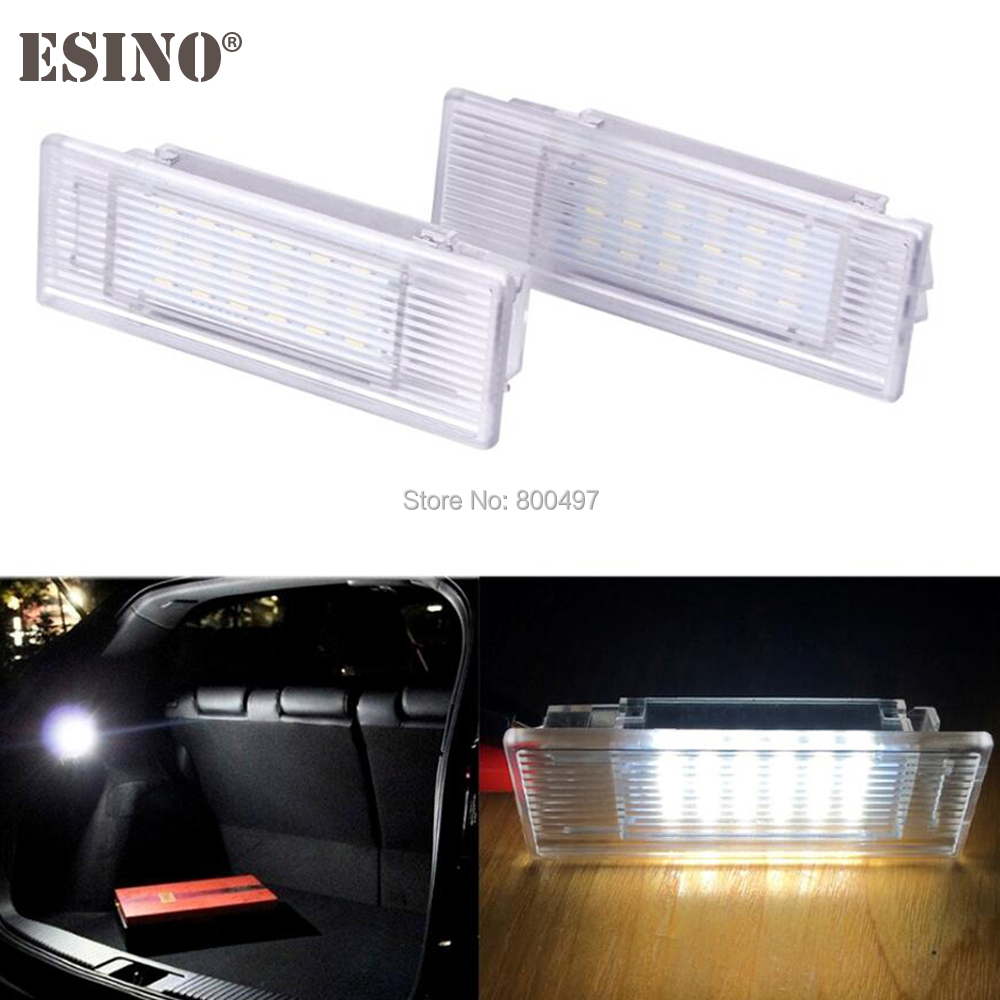 2 x Car LED Compartment Trunk Boot Luggage Lights Interior Trunk Lamps 24 SMD for BMW E38 E39 E46 E60 E66 E67 E82 E88 E90 E92 for volkswagen passat b6 b7 b8 led interior boot trunk luggage compartment light bulb