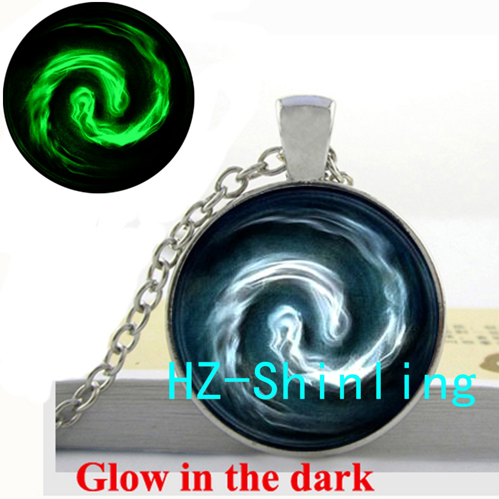New Fashion Glow in <font><b>The</b></font> <font><b>Dark</b></font> Avatar <font><b>the</b></font> <font><b>Last</b></font> Airbender Air Nomad Necklace Glowing Jewelry Glass Cabochon Dome Pendant