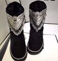 Estilo de la marca bling del patrón Clásico de la Naturaleza real de piel de oveja de Lana de piel botas de nieve de cuero para las mujeres de invierno Corto zapatos de Alta Calidad