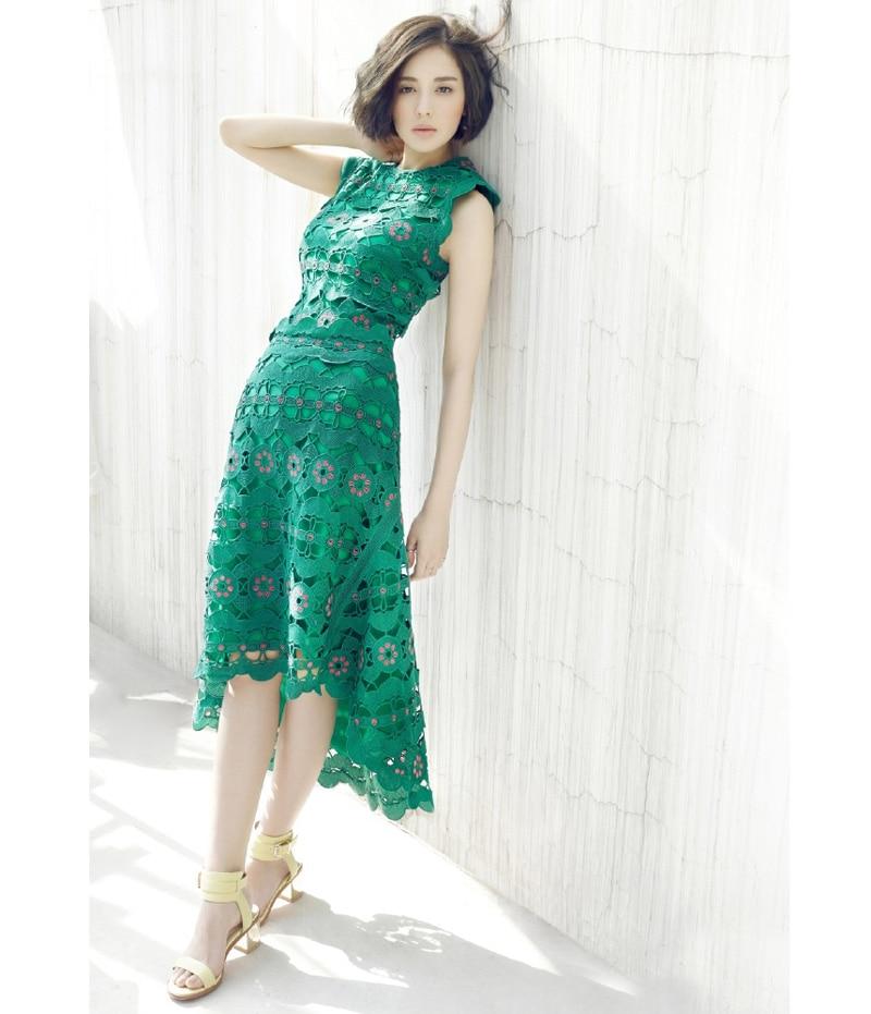 pink dots embroidery hollow out crochet flower dress white green sleeveless high low women dresses summer
