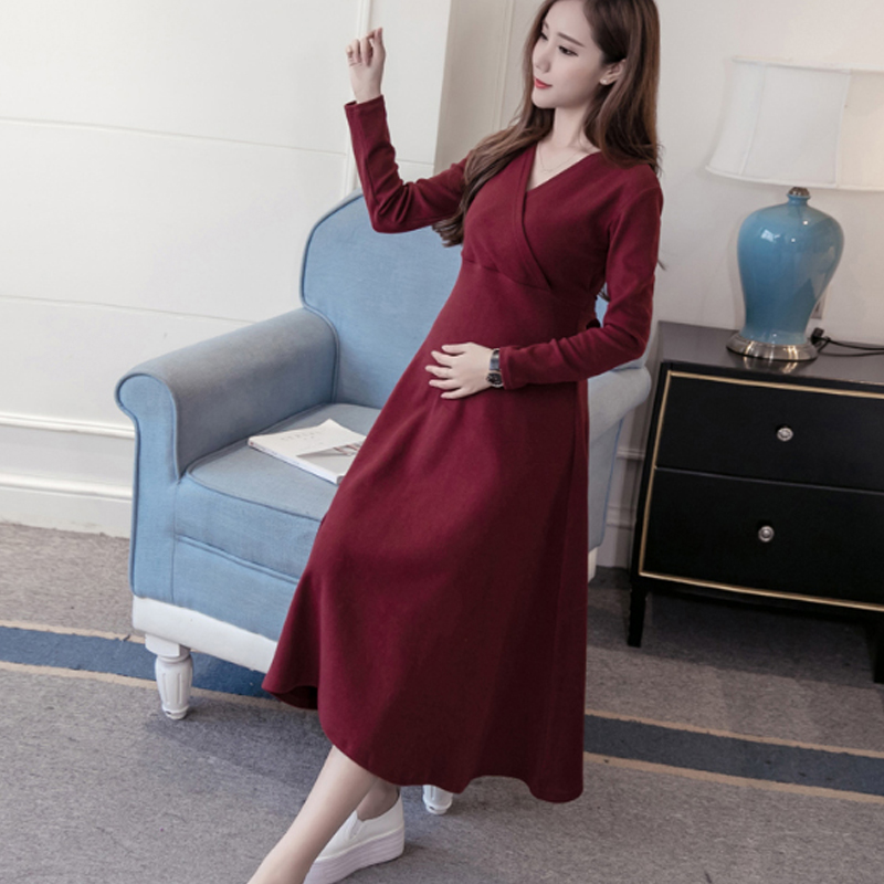 OkayMom Maternity Nursing Dress Clothing Sexy V Neck Maternity Breast Feeding Clothes Pregnancy Nurse Wear Party Dress 2018 все цены