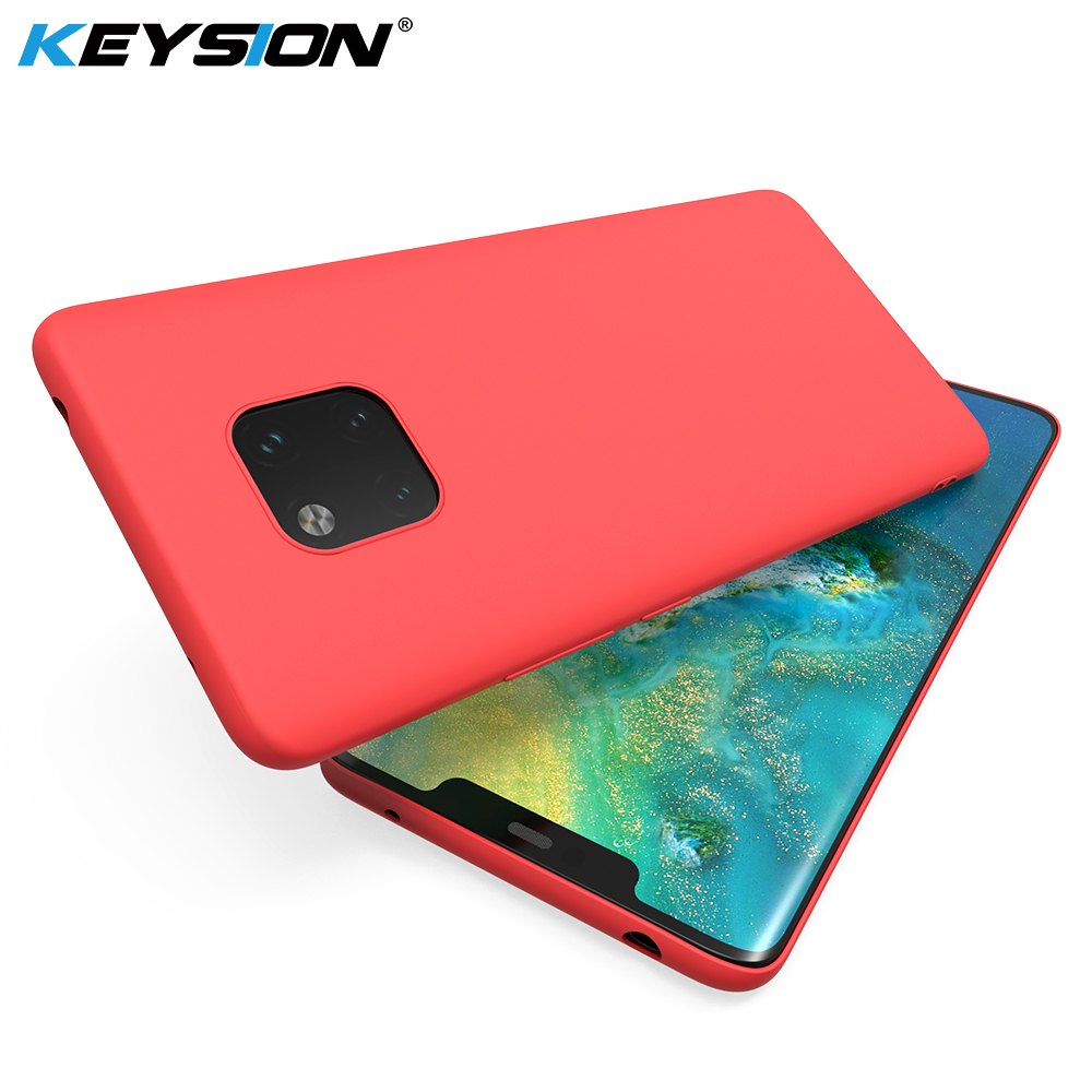 KEYSION Original Thin Liquid Silicone Case for Huawei Mate 20 Pro 20 Lite Gel Rubber Phone Cover for Huawei P30 Pro P20 Lite