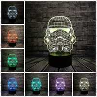 Lámpara 3D Star Wars Storm Knight Trooper soldado blanco 3D juguete USB LED luz nocturna dibujos animados fiesta decoración iluminación lampara regalo de los niños