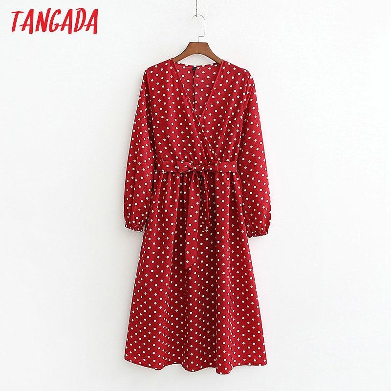 Tangada femmes rouge à pois robes col en v lanterne manches longues 2019 décontracté ceintures plissé dames robe midi vestidos 1D114