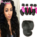 7A Peruvian Virgin Hair With Closure Peruvian Loose Wave With Closure 4 Bundles With Closure Loose Wave Virgin Hair With Closure