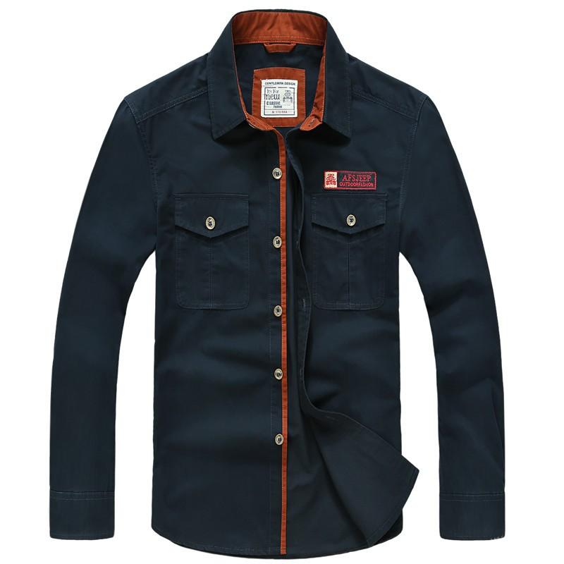 AFS JEEP 2015 Spring Autumn Fashion Men\'s Cotton Dress Plus Size Shirts Camisa Hombre Blouse Vestido Men Clothes Casual 2XL 3XL (22)