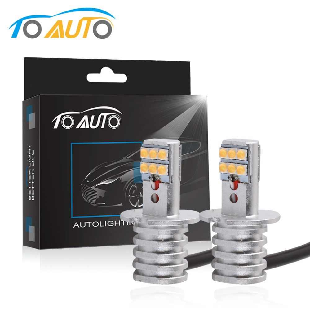 2PCS H3 LED Bulb 60W 12 SMD SHARP Chip White 1000LM Car Led Daytime Running Lights Fog Light DRL Auto Lamp 12V 6000K