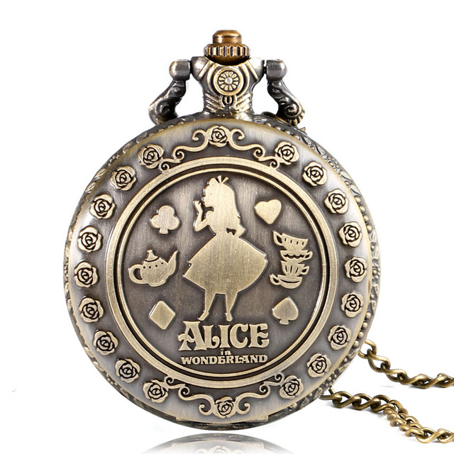 Retro Beautiful Girl Pattern Bronze Alice in Wonderland Quartz Pocket Watch Necklace Pendant Alice Watches Fans Girlfriend Gifts