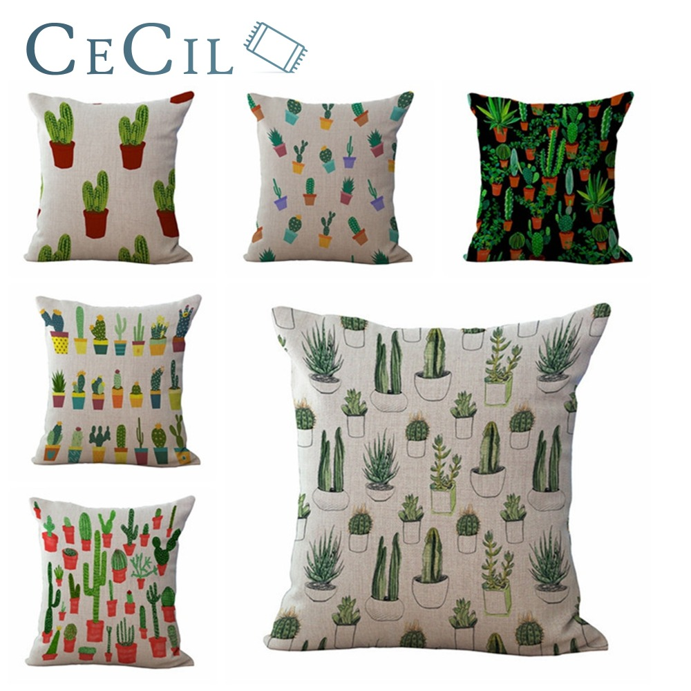 Cecil Cactus Linen Home Decorative Pillow Cover Printing Sofa Car Lumbar Cushion Office Plant