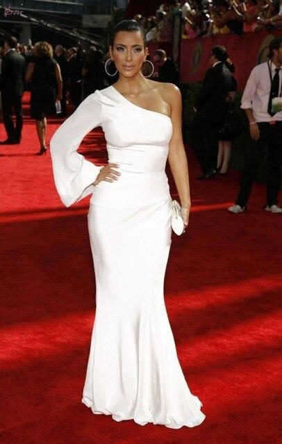 Celebrity Dresses White Red Carpet Kim Kardashian One Long Sleeve kylie kendall jenner selena gomez vestido de festa Dress