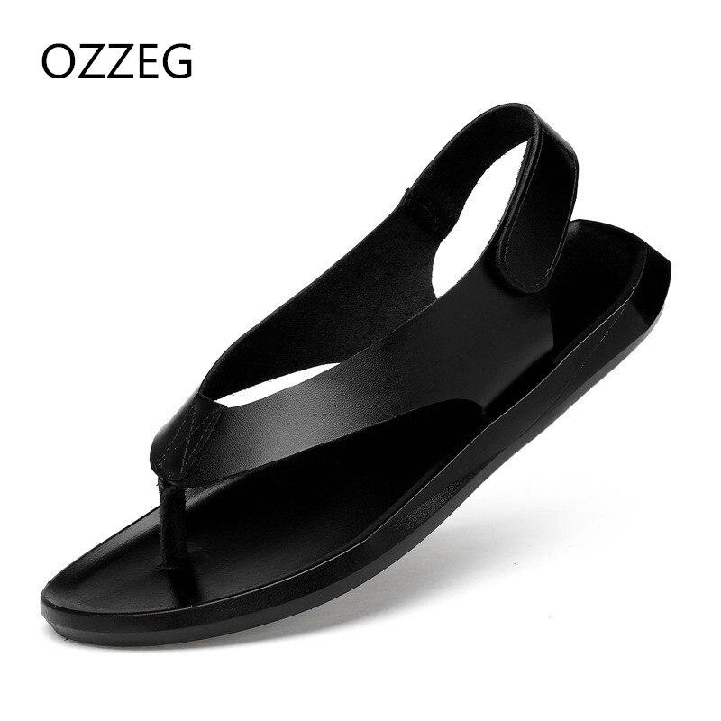 Men Fashion Summer Sandals Mens Cow Leather Beach Sandals Flip Flops Casual Men Rome Sandals Slippers Flat Shoes For Man