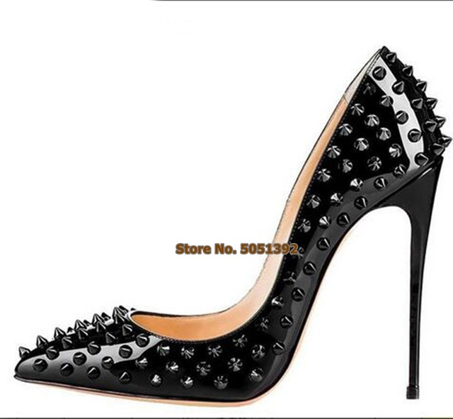 ecf7b3253e Extremely High Heel Pointed Toe Full Rivets Women Pumps Shallow Sexy Plus  Size Office Fashion Party Shoes Stiletto Wedding