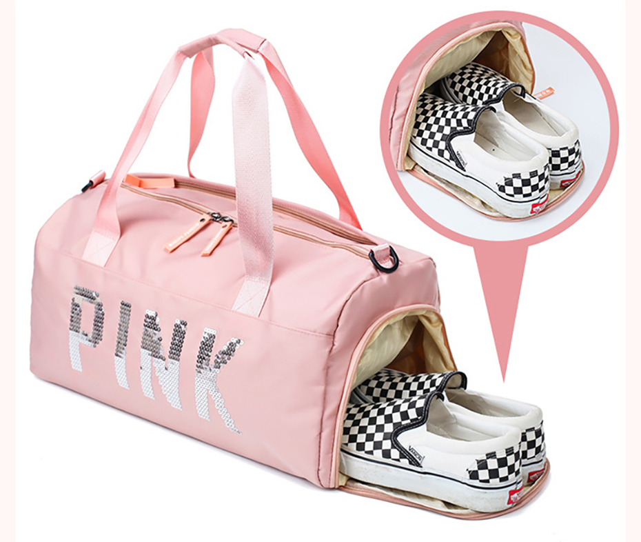 Outdoor Waterproof Nylon Sports Gym Bags Men Women Training Fitness Travel Handbag Yoga Mat Sport Bag with shoes Compartment010033