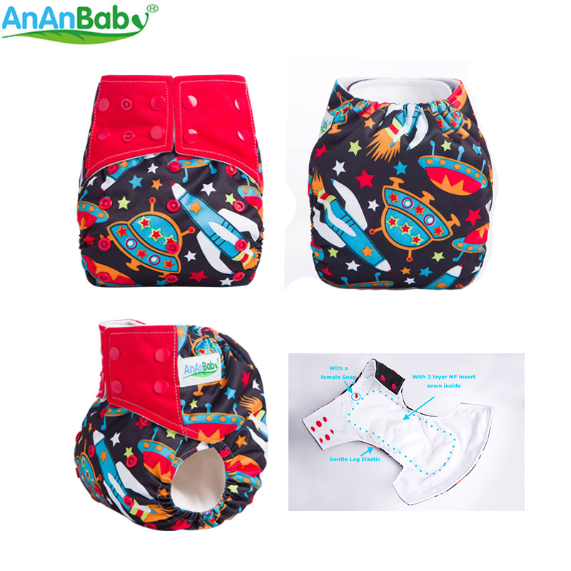 Ananbaby Cloth Diaper Environmental Friendly AIO Cloth Nappy For Infants 3-15kg Double Row Snaps