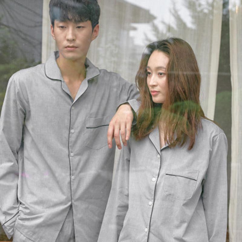 Plain Color Man And Woman Spring And Autumn New Couple Pajamas Cotton And Linen Men Long-sleeved Cardigan Home Service Suit Men