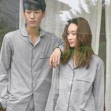 Plain color man and woman spring autumn new couple pajamas cotton linen men long-sleeved cardigan home service suit