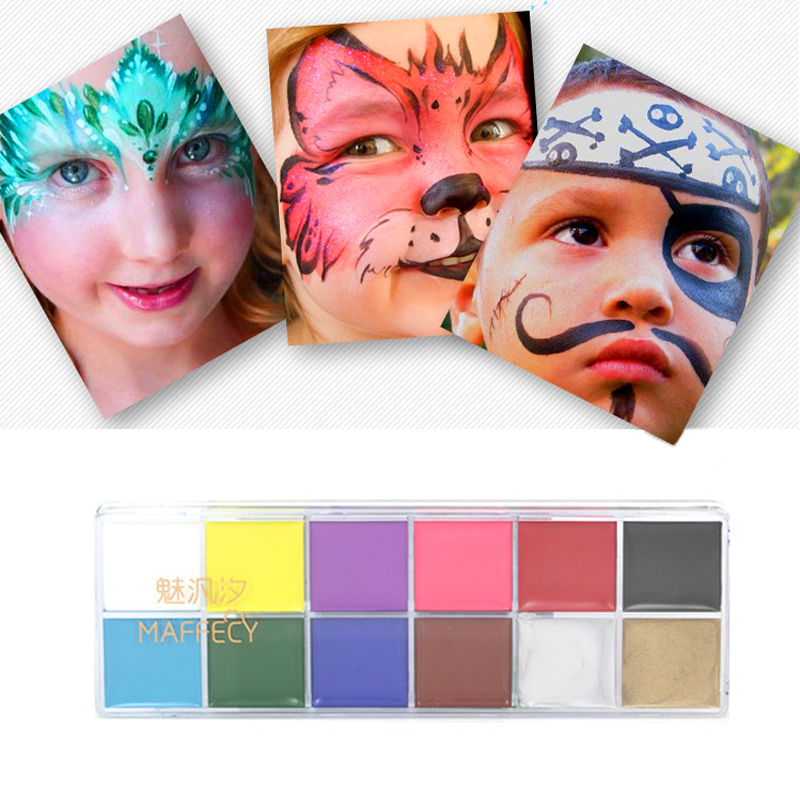 Makeup Beauty & Health Lovely 12 Color/kit Face Body Paint Cream Palette Waterproof Oil Art Tattoo Christmas Ball Children Party Makeup
