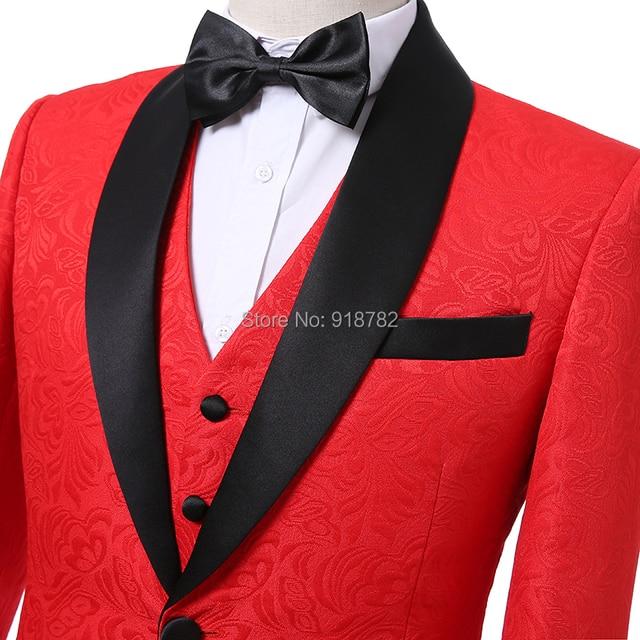 e19976418 Boda Trajes para hombres 2018 nuevo diseño del novio traje slim fit real  fotos rojo Bordado