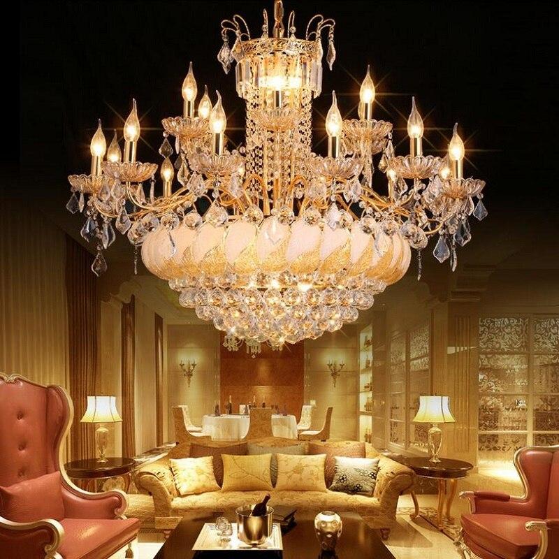 New Luxury Led Crystal Chandelier Large Lustre K9 Gold