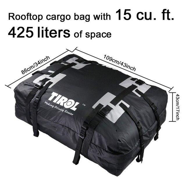TIROL-transporteur de toit étanche   Énorme sac de rangement pour bagages, sac de voyage (15 pieds cubes) pour véhicule SUV avec Rails de toit T24528b