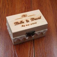 Rustic Wedding Ring Bearer Box Personalized Wedding Ring Box Wooden Ring Holder Box Wedding Decor Customized