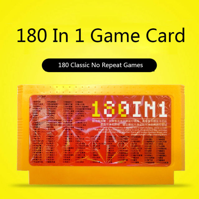180 IN 1 Game Cartridge Classic 60 Pins 8bit Game Card For Family tv game player Free shipping