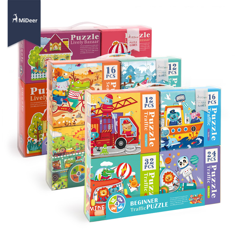 MiDeer Kids Beginner Season Traffic House Jigsaw Puzzle Set Baby Early Educational Toys Birthday Gift Pack Of 4 Boxes Christmas