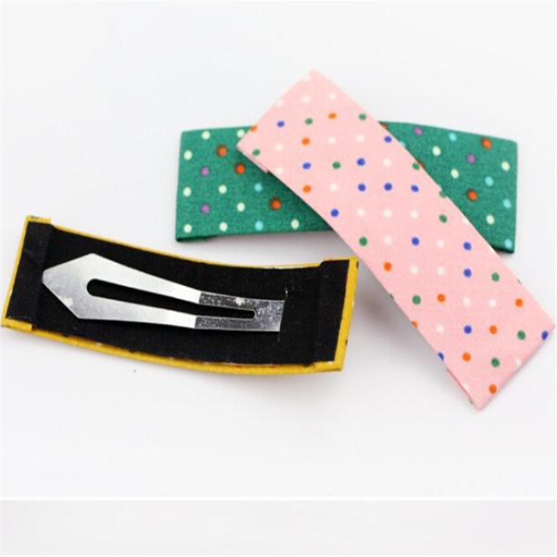 5pcs/lot Women Ladies Girls Female BB Hairpin Barrettes Colorful Polka Dots Cloth Hair Clips 2247