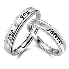 Te amo Para Sempre Dividir Conjunto de Cristal Anéis Casal Definidos para Os Amantes de Casamento Ajustável 2 Pcs Presente do Dia Dos Namorados Mulheres acessórios