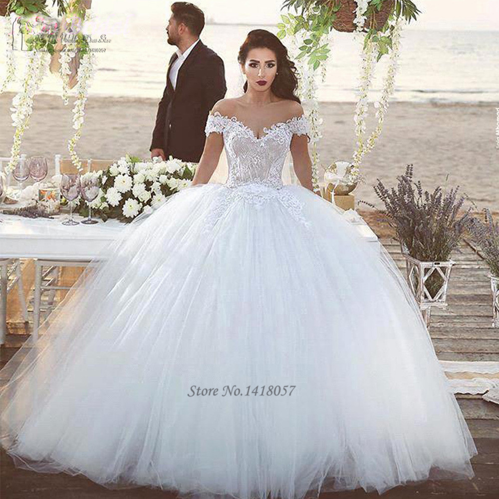 2016 Elegant White Champagne Wedding Dresses Turkey Lace Wedding Bridal Gowns Dress Off Shoulder Ball Gown Floor Length Tulle