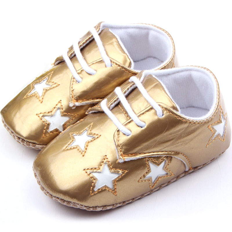 Baby Shoes Boys Girls Solid Star Pattern PU Leather First Walker Infant Toddler Shoes New