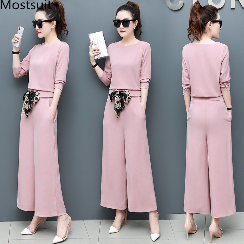 Chiffon 2 Piece Set Women Long Sleeve Tops And Wide Leg Pants Trousers Set Suits Spring Autumn Casual Office Elegant Women's Set