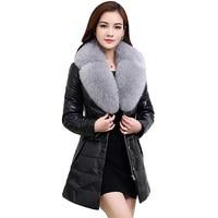 Duck Down Coat Thick Women Parka Fur Collar Jacket Winter European Large Size 6xl Warm Women Basic Faux Leather Coats YP0665