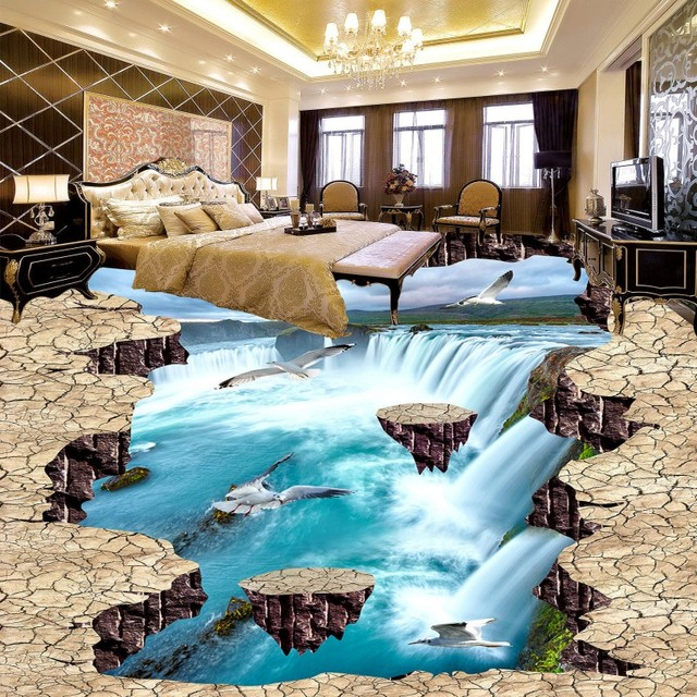 Free Shipping Flowing Water Flooring Picture Wallpaper Playground Bedroom  Studio Waterproof PVC Floor Mural
