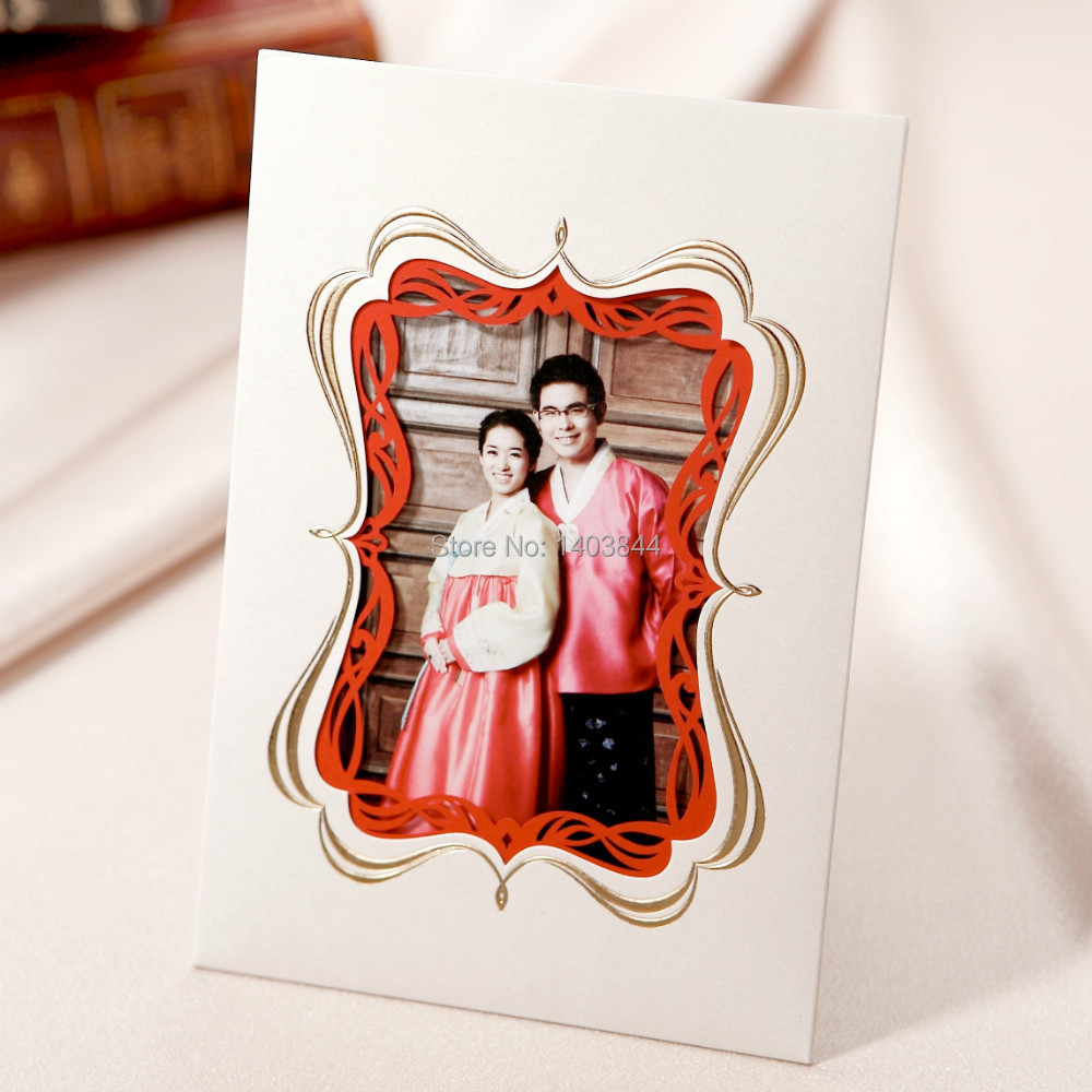 Laser Cut Photo Frame Paper Wedding Invitation Card with Bracket on back Stand CW1048