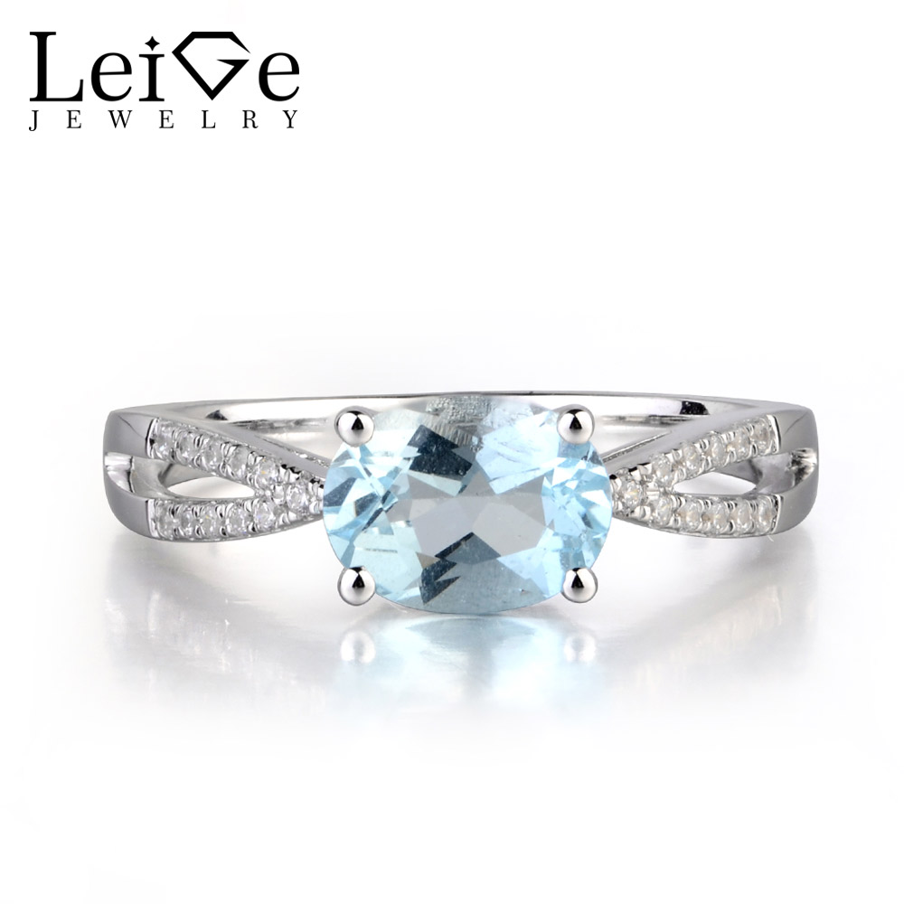 Leige Jewelry Real Aquamarine Oval Cut Prong Setting Engagement Ethnic Style Rings March Birthstone 925 Sterling Silver