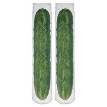 Free Shipping Harajuku Women Socks Funny 3D Full Print Green Cucumber Fashion Casual Fitness Hosiery For Girl