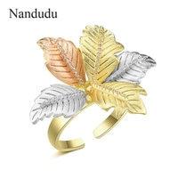 Nandudu Fashion AAA Cubic Zircon Leaf Ring for Women 3 Tones Gold Open Cuff Wedding CZ Rings Gift Elegant Jewelry R2077