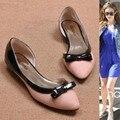 Леди Жарко продавать мягкие боути лакированной кожи заглянул toe плоские туфли на каблуках рабочая обувь в весна лето осень розовый белый (4-15)