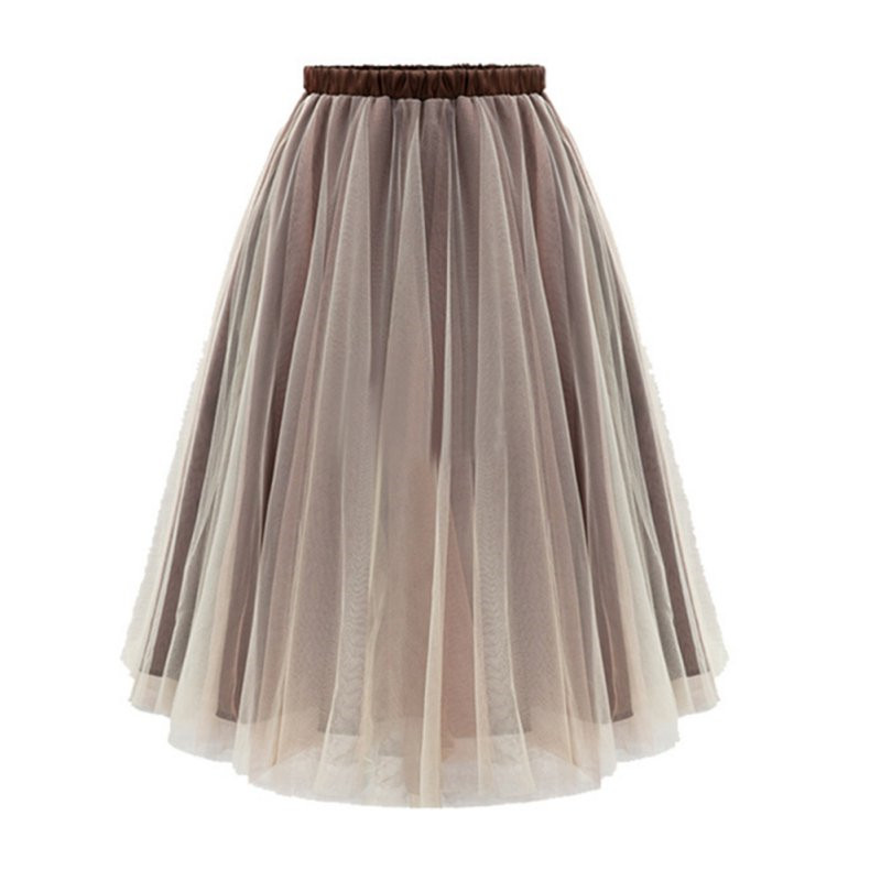 2017 nueva moda mujer vintage alta cintura falda vestido de bola swing falda  a line rodilla longitud Encaje marrón Faldas caliente en Faldas de La ropa  de ... f40eaf95b304