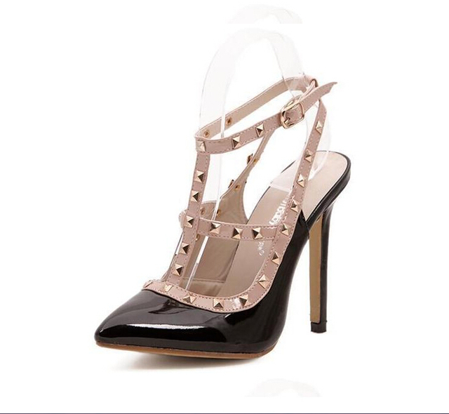 Hot Women Pumps Ladies Sexy Pointed Toe High Heels Fashion Buckle Studded Stiletto High Heel Sandals Shoes  BAOK-3be9